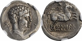 IBERIA. Bolskan. AR Denarius, ca. 80-72 B.C. NGC Ch VF.