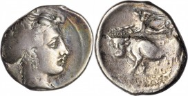 ITALY. Campania. Neapolis. AR Nomos (7.10 gms), 395-385 B.C. CHOICE FINE.