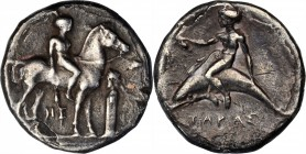 ITALY. Calabria. Tarentum. AR Nomos (7.38 gms), ca. 365-355 B.C. VERY FINE.