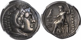 MACEDON. Kingdom of Macedon. Demetrios Poliorketes, 306-283 B.C. AR Tetradrachm, Amphipolis Mint, ca. 294-290 B.C. NGC VF. Marks.