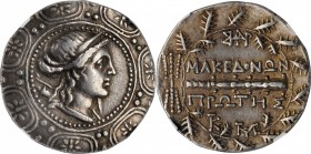 MACEDON. Under the Romans. AR Tetradrachm, Amphipolis Mint, First Meris, ca. 167-149 B.C. NGC Ch VF. Edge Bend.