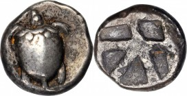 AEGINA. AR Stater (12.31 gms), ca. 480-457 B.C. NEARLY VERY FINE.
