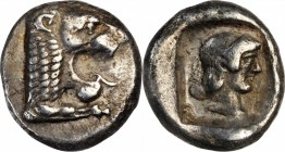 CARIA. Knidos. AR Drachm (6.12 gms), ca. 465-449 B.C. NEARLY EXTREMELY FINE.