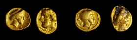 KYRENAICA. Kyrene. Duo of Gold 1/10 Staters (2 Pieces), ca. 331-313 B.C. Average Grade: VERY FINE.