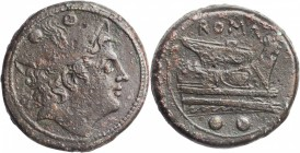 ROMAN REPUBLIC. Anonymous. AE Sextans (28.92 gms), Rome Mint, ca. 217-215 B.C. CHOICE VERY FINE.