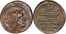 ROMAN REPUBLIC. Anonymous. AE Semis (16.66 gms), Rome Mint, After 211 B.C. CHOICE VERY FINE.