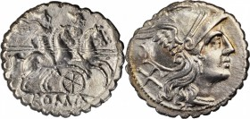 ROMAN REPUBLIC. Anonymous. AR Denarius Serratus (4.03 gms), Uncertain Mint in Sicily, 209-208 B.C. EXTREMELY FINE.