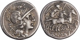 ROMAN REPUBLIC. Atilius Saranus. AR Denarius (3.84 gms), Rome Mint, 155 B.C. CHOICE VERY FINE.