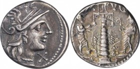 ROMAN REPUBLIC. C. Augurinus. AR Denarius (3.80 gms), Rome Mint, 135 B.C. CHOICE VERY FINE.