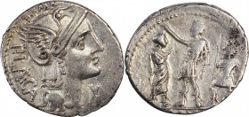 ROMAN REPUBLIC. P. Laeca. AR Denarius (3.90 gms), Rome Mint, 110-109 B.C. NEARLY EXTREMELY FINE.
