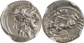 ROMAN REPUBLIC. D. Silanus L.f. AR Denarius (3.95 gms), Rome Mint, 91 B.C. NGC MS, Strike: 4/5 Surface: 3/5, Adjusted Flan.
