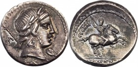 ROMAN REPUBLIC. Pub. Crepusius. AR Denarius (4.15 gms), Rome Mint, 82 B.C. ALMOST UNCIRCULATED.