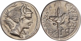 ROMAN REPUBLIC. C. Valerius Flaccus. AR Denarius (4.00 gms), Massalia Mint, 82 B.C. CHOICE EXTREMELY FINE.