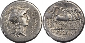 ROMAN REPUBLIC. L. Sulla & L. Manlius Torquatus. AR Denarius (4.07 gms), Military Mint moving with Sulla, 82 B.C. CHOICE VERY FINE.