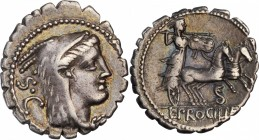 ROMAN REPUBLIC. L. Procilius. AR Denarius Serratus (3.78 gms), Rome Mint, 80 B.C. NEARLY EXTREMELY FINE.
