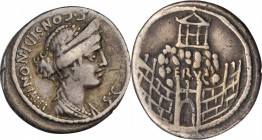 ROMAN REPUBLIC. C. Considius Nonianus. AR Denarius (3.75 gms), Rome Mint, 56 B.C. VERY FINE.