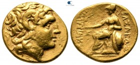 Kings of Thrace. Uncertain mint. Macedonian. Lysimachos 305-281 BC. Possibly a contemporary imitation. Stater AV