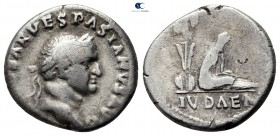 "Vespasian AD 69-79. Judaea Capta"" commemorative. Struck circa 21 December AD 69-early AD 70. Rome. Denarius AR"