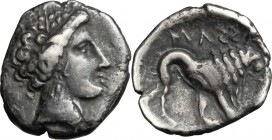 Celtic World. Gaul, Massalia. AR Drachm, 2nd half of 3rd century BC. D/ Head of Artemis right, wearing wreath. R/ Stylized lion right. AR. g. 3.42 mm....
