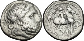 Celtic World. Celtic, Eastern Europe. AR Tetradrachm, early Celtic imitation of Philip II of Macedon, 3rd-2nd century BC. D/ Head of Zeus right, laure...