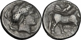 Greek Italy. Central and Southern Campania, Neapolis. AR Didrachm, circa 300 BC. D/ Diademed head of nymph Parthenope right; five dolphins around. R/ ...