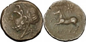 Greek Italy. Northern Apulia, Arpi. AE 17mm, 325-275 BC. D/ Head of Zeus left, laureate. R/ Horse prancing left; above, star. HN Italy 644var. (horse ...