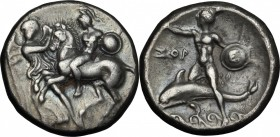 Greek Italy. Southern Apulia, Tarentum. AR Nomos, circa 280 BC. D/ Warrior, wearing shield on left arm and holding spear, on horse prancing left; to l...