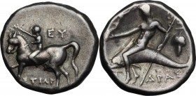 Greek Italy. Southern Apulia, Tarentum. AR Nomos, 272-240 BC. D/ Youth on horseback left, crowning horse with wreath; EY behind, TIΣTIAP below. R/ Pha...