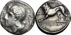 Greek Italy. Northern Lucania, Velia. AR Nomos, circa 334-300 BC. D/ Head of Athena left wearing Attic helmet. R/ Lion advancing left. HN Italy 1298. ...