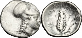 Greek Italy. Southern Lucania, Metapontum. AR Diobol, 325-275 BC. D/ Helmeted head of Athena right. R/ Ear of barley; to right, cornucopiae. HN Italy ...