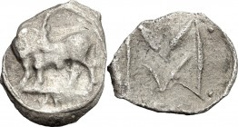 Greek Italy. Southern Lucania, Sybaris. AR Obol, 550-510 BC. D/ Bull standing left, head turned back. R/ Large M between pellets. HN Italy 1739. AR. g...