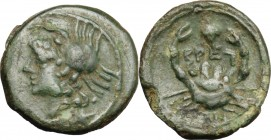 "Greek Italy. Bruttium, The Brettii. AE Quarter Unit. ""Thunderbolt"" group, circa 211-208 BC. D/ Head of sea-goddess left, wearing crab headdress. R/ Cr..."