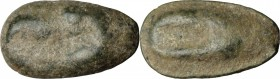 Sicily. Akragas. AE Cast Onkia, c. 450-425 BC. D/ Eagle's head left. R/ Crab's claw left. CNS 147; SNG ANS 1019. AE. g. 4.36 mm. 19.00 Earthen dark gr...