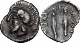 Sicily. Himera. AR Litra, 479-409 BC. D/ Helmeted and bearded head of male left. R/ Pair of greaves. Gorini, Gruppo 18; HGC 2, 445. AR. g. 0.28 mm. 9....
