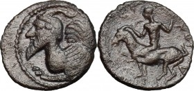 Sicily. Himera. AR Litra, 450-420 BC. D/ Protome of winged and horned, male creature left. R/ Youth riding on goat left. SNG Cop. 309. AR. g. 0.75 mm....