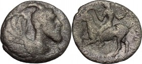 Sicily. Himera. AR Litra, 450-420 BC. D/ Protome of winged and horned male creature right. R/ Youth riding on goat left. SNG Cop. 310. AR. g. 0.69 mm....