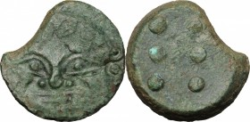 Sicily. Himera. AE Hemilitron, 425-409 BC. D/ Gorgoneion. R/ Six pellets. CNS I, 23. AE. g. 12.71 mm. 24.00 Olive-green patina. Broken, fragment missi...