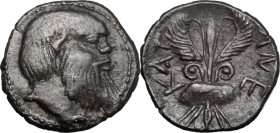 Sicily. Katane. AR Litra, 465-460 BC. D/ Head of Silenos right. R/ Winged thunderbolt. SNG ANS 1237. AR. g. 0.86 mm. 11.50 Toned. About EF.