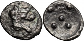 Sicily. Leontini. AR Pentonkion, 476-466 BC. D/ Roaring lion's head right. R/ Five pellets. SNG Lloyd 1051. AR. g. 0.21 mm. 7.00 VF.