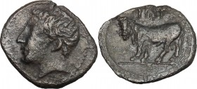 Sicily. Panormos. AR Litra, after 409 BC. D/ Head of river god left. R/ Man-headed bull left. SNG Cop. 511-513. AR. g. 0.69 mm. 11.50 R. Toned. VF.