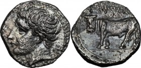 Sicily. Panormos. AR Litra, after 409 BC. D/ Head of river god left. R/ Man-headed bull left. SNG Cop. 511-513. AR. g. 0.75 mm. 10.00 R. Toned. VF.