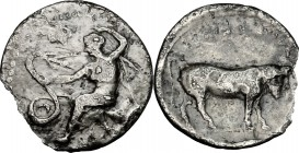 Sicily. Selinos. AR Litra, c. 410 BC. D/ Nymph seated left on rock, extending right hand to touch coiled serpent before her. R/ Man-headed bull right....