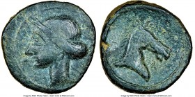 PUNIC SPAIN. Carthage. Ca. 237-209 BC. AE (23mm, 12.61 gm, 11h). NGC VF 4/5 - 3/5, light scratches. Punic Wars issue. Uncertain Spanish mint under Car...