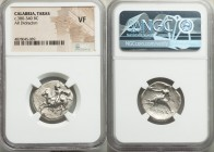 CALABRIA. Taras. Ca. 380-340. AR didrachm (23mm, 1h). NGC VF. Nude youth, hair blowing in wind, shield on left arm, dismounting from horse galloping l...