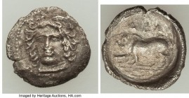 SICILY. Abacaenon. Ca. 410-400 BC. AR litra (12mm, 0.73 gm, 4h). VF. Head of a nymph facing, turned slightly left / ABA, sow standing left, piglet sta...