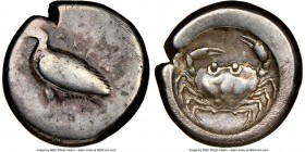 SICILY. Acragas. Ca. 500-470 BC. AR didrachm (18mm, 8.57 gm, 4h). NGC Fine 4/5 - 2/5, scratches. AKPA, eea eagle standing left / Crab seen from above ...