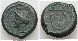 SICILY. Adranon. Ca. 339-317 BC. AE drachm (30mm, 32.40 gm, 5h). VF. Laureate head of Apollo left; linear border / Kithara; linear border. SNG ANS 115...