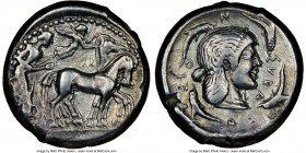SICILY. Syracuse. Ca. 480-475 BC. AR tetradrachm (24mm, 17.12 gm, 10h). NGC VF 5/5 - 4/5. Deinomenid Tyranny. Time of Gelon. Charioteer, holding kentr...