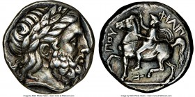 MACEDONIAN KINGDOM. Philip II (359-336 BC). AR tetradrachm (22mm, 14.39 gm, 9h). NGC Choice VF 5/5 - 4/5. Amphipolis, ca. 355-349/8 BC. Laureate, bear...