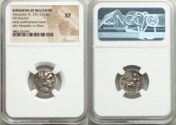 "MACEDONIAN KINGDOM. Alexander III the Great (336-323 BC). AR drachm (17mm, 1h). NGC XF. Early posthumous issue of ""Colophon,"" ca. 310-301 BC. Head of ..."